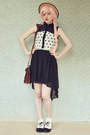 Dark-brown-satchel-vintage-bag-black-heart-print-awwdore-dress