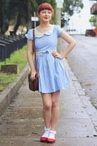 light blue Bonne Chance dress - dark brown thrifted bag - red yeswalker flats