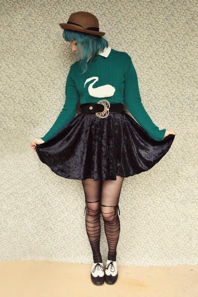 black velvet circle DIY skirt - brown straw bowler Wholesale-Dress hat