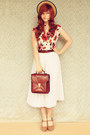 Dark-brown-vintage-bag-ruby-red-forever-21-top-white-vintage-skirt