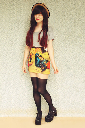 yellow Sheinside skirt - black Topb2c boots - beige wholesale hat