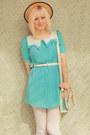 Sky-blue-pleated-collar-wholesale-dress