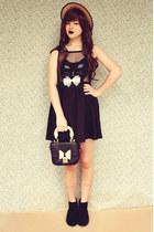 black chelsea style asos boots - black cat face romwe dress