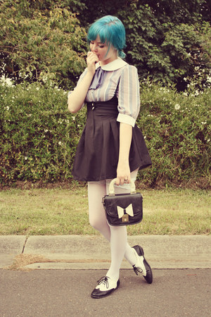 black pinafore style Wholesale-Dress dress - black OASAP bag