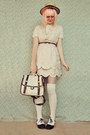 Cream-scalloped-sheinside-dress-beige-boater-wholesale-hat