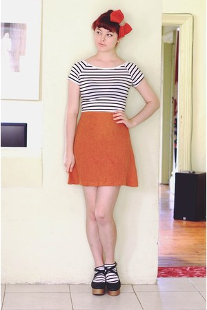 white DIY shirt - white DIY socks - burnt orange thrifted hair accessory