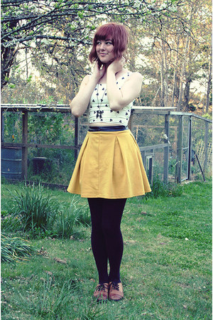 yellow thrifted skirt - tawny thrifted loafers - bronze thrifted necklace
