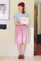 sky blue vintage sweater - black DIY socks - pink thrifted skirt