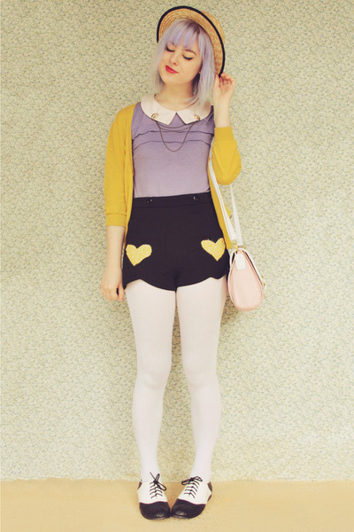 light yellow heart appliqu DIY shorts - white striped opaque OASAP tights