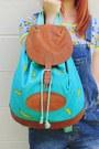 Turquoise-blue-banana-print-diy-bag-yellow-banana-brooch-handmade-accessories