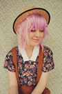 Beige-boater-wholesale-hat-bubble-gum-floral-diy-shirt