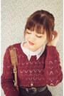 Dark-brown-vintage-bag-brick-red-patterned-no-brand-sweater