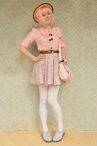 light purple floral circle DIY skirt - periwinkle Dr Martens boots