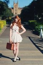 white matching set Choies skirt - brown picnic thrifted bag