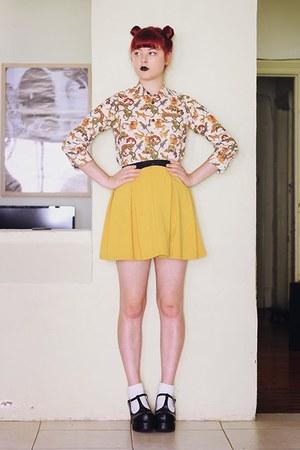 olive green lizard print vintage blouse - mustard vintage skirt