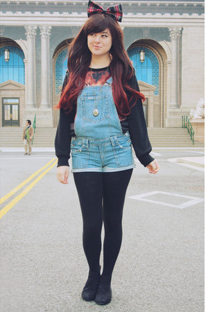 light blue vintage romper - black asos boots - brick red Sheinside sweater