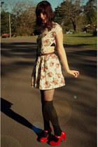 dark brown vintage belt vintage belt - cream Vintage DIY dress