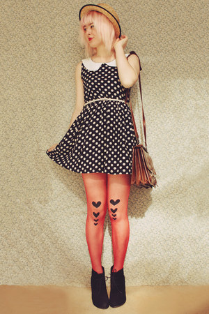 navy polka dot OASAP dress - black wedge style Rubi shoes boots