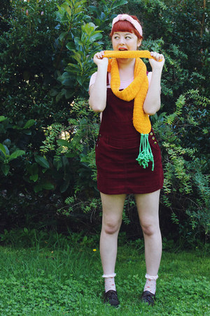 crimson pinafore thrifted dress - carrot orange Yummy You scarf