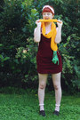 Crimson-pinafore-thrifted-dress-carrot-orange-yummy-you-scarf