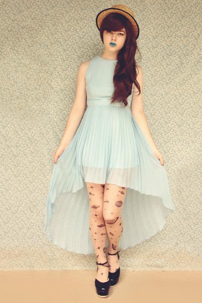 black Ebay tights - black Label Shoes shoes - light blue Glamorous UK dress