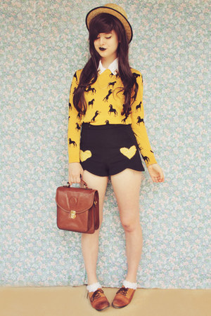 yellow horse print Sheinside sweater - beige boater wholesale hat