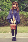 Beige-boater-wholesale-hat-brown-vintage-bag-navy-faith-and-lola-cape
