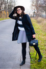 Black-leather-ccc-boots-white-thrifted-dress-black-esmara-coat