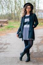 black leather CCC boots - white thrifted dress - black esmara coat