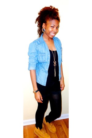 black tank top Forever 21 top - gold Timberland boots - blue Thrift Store shirt