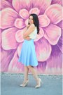 Light-pink-pink-basis-shoes-aquamarine-custom-made-skirt-white-romwe-top