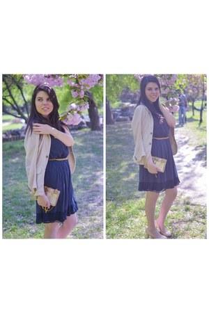 navy Zara dress - beige Zara blazer - gold MNOLogie bag