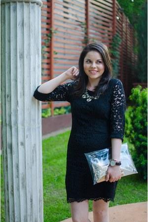 black Zara dress - silver Sheinside bag - black Zara sandals