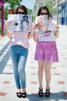 bubble gum Zara jeans - bubble gum Hicustomnet t-shirt - romwe skirt