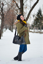 yellow PERSUNMALL scarf - olive green romwe coat - black PERSUNMALL bag