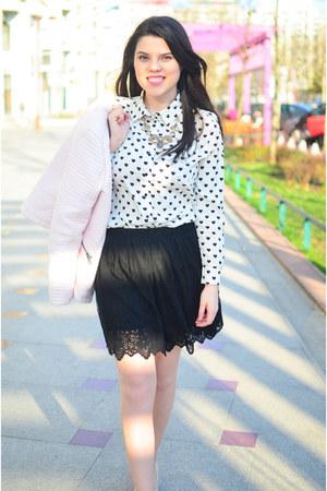light pink Only jacket - black Stradivarius skirt