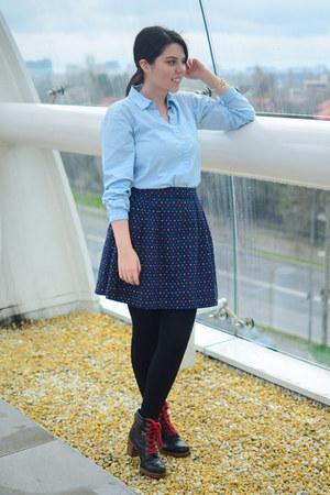 navy romwe skirt - black Deichmann boots - light blue thrifted shirt