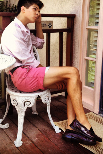 light pink button up H&M shirt - bubble gum corduroy Target shorts