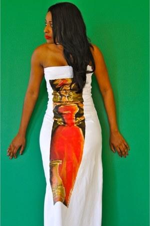 sm warner designs dress - red wood circular yumnah najah earrings