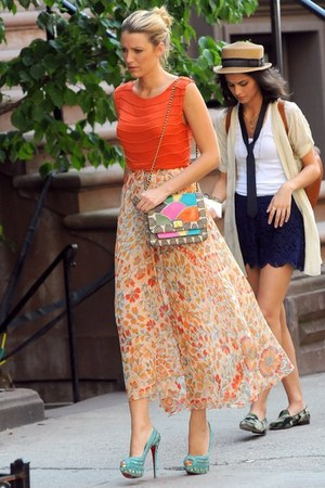 Christian Louboutin shoes - carrot orange shirt - skirt
