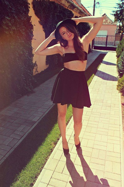 black shoes - black hat - black skirt - black bra