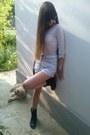 Black-hm-boots-periwinkle-levis-shorts-beige-bershka-blouse