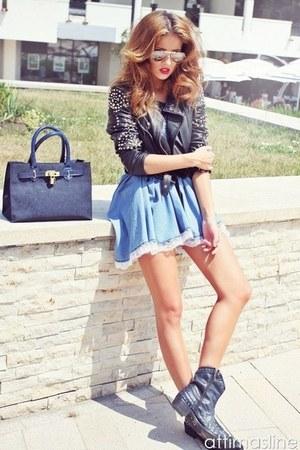 black zara boots - blue bsb dress - black zara jacket