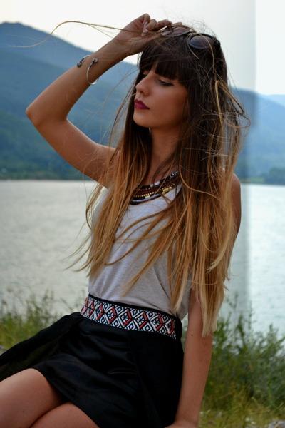 Bershka necklace - Koton sunglasses - Glow skirt - Esprit t-shirt