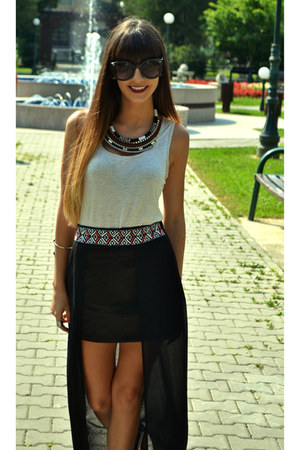 Bershka necklace - Koton sunglasses - Esprit t-shirt - Glow skirt