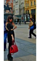 ruby red bershka bag - hm boots - Koton sunglasses - hm skirt - Bershka blouse