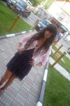 navy zara dress - peach bershka blouse - hm sandals