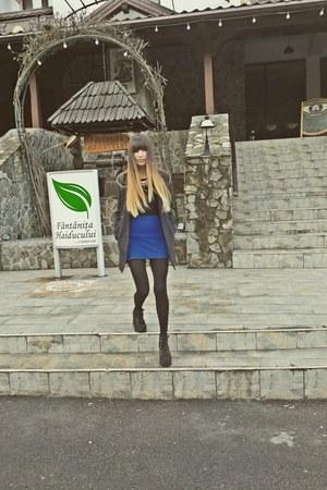 hm boots - pimkie coat - zara blouse - blue new yorker skirt