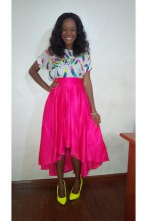 hot pink skirt - yellow American Apparel heels