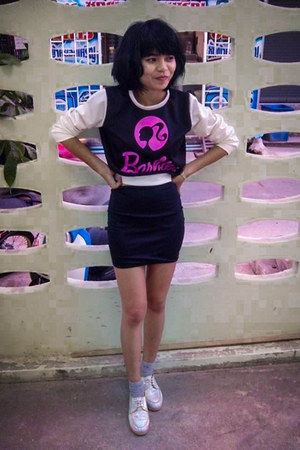 black Barbie coat - black skirt